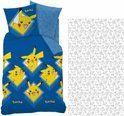 Pokemon Pikachu - Dekbedovertrek - Eenpersoons - 140 x 200 cm - Blauw - Inclusief hoeslaken