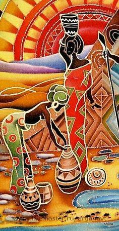 Купить или заказать Панно-батик 'Африканские мотивы' в интернет-магазине на Ярмарке Мастеров. Яркие картинки из африканской жизни с использованием африканских же фольклорных орнаментов. Образы собирательные, страна-неопределенная. В общем, Африка! Центральная композиция триптиха. Хотя триптих-понятие условное, просто панно объединены общей темой и колористикой . Панно в технике холодный батик. Красители закреплены. Панно оформлено в деревянную раму окрашенную в тон панно и покрытую ла...