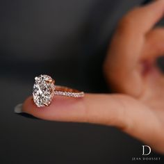CHELSEA ROSE PINK is a handcrafted Jean Dousset Diamonds solitaire engagement ring set in 18K Rose Gold with Rare, natural Fancy Argyle pink pavé diamonds - JeanDousset.com
