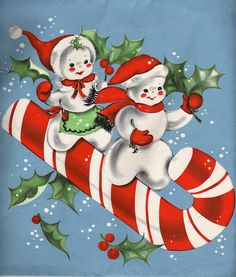 snow couple on candy cane.