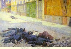 "Maximilien Luce. Paris Street in May 1871 (The Commune). 1903-1905. Oil on canvas. Musée d'Orsay, Paris, France. This painting represents mourning on a Parisian street during the French Commune. It depicts ""martyrs"" lying on the street of a working class neighbourhood. The street's paved stones that Haussmann introduced to Paris are now destroyed, which suggest the aftermath of a rivalry."