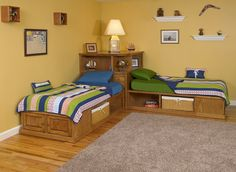 Corner cubby bed available in maple or oak. Twin size. Shown with optional bookcase hutch. Customize the beds with drawers,doors,pullouts, roll out trays and baskets.