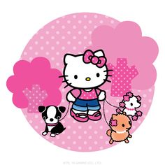 Hello Kitty walks the dogs for fresh air and exercise!