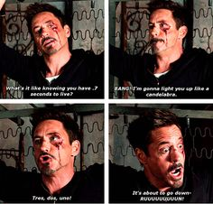 """Robert Downey Jr.: Tony Stark trying to be threatening in """"Iron Man 3"""". HIS FACE IN THE LAST PANEL"""