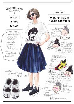 イラストレーター oookickooo(キック)こと きくちあつこが今、気になるファッションアイテムを切り取る連載コーナーです。今週のテーマは「high-tech sneakers」。