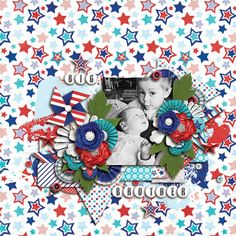 1 photo scrapbook layout from Traci Reed Designs blog featuring black and white photo, lots of stars
