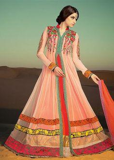 USD 114 Pink Net Anarkali Style Suit 31442