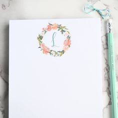 Personalized notepad, customized notepad, floral notepad, to do list, custom to do list