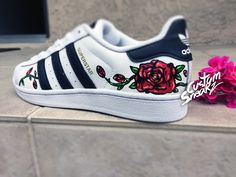 Custom Adidas Superstar for men and women Adidas custom Hand Painted floral design Rose design Unisex sizes Adidas superstar Original - Tennis Adidas - Ideas of Tennis Adidas - Cute Sneakers, Adidas Sneakers, Shoes Sneakers, Zapatillas Casual, Lit Shoes, Golf Shoes, Shoes Sandals, Adidas Shoes Women, Outfits