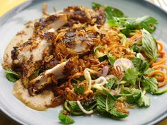 Guest Chef Gizzi Erskine's recipe for chicken with an Asian spiralized vegetable noodle salad