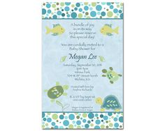 CoCaLo Turtle Reef Boy Digital Baby Shower Invitation - You Print - Blue and Green, Fish, Turtle
