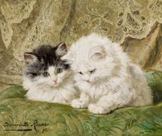 "art-and-things-of-beauty: "" Henriette Ronner-Knip (1821-1909) - Two kittens, oil on panel 23 x 27 cm. 1895. """