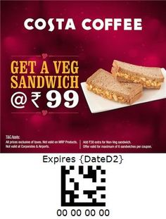 Costa Coffee - India Veg Sandwich, Costa Coffee, French Toast, Sandwiches, Coupon, India, Bread, Breakfast, Food