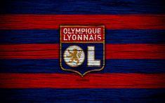 Download wallpapers Olympique Lyonnais, 4k, France, Liga 1, wooden texture, Olympique Lyonnais FC, Ligue 1, soccer, football club, FC Olympique Lyonnais