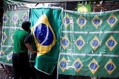 World Cup 2010 game day between Brazil and Chile. Cerqueira Cesar neighborhood. Sao Paulo, Brazil