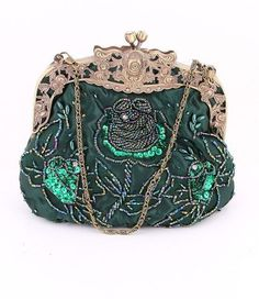 Green Beaded Victorian Purse - Roses And Teacups