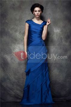 Attractive Ruched Tiered A-Line Floor-Length Scoop Polina's Mother of Bride Dress