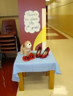 This would be such a cute display to welcome students the first week of school! Toto could join us in the classroom for the rest of the year as our class mascot, and the ruby slippers could come out for special events and be earned for great behavior!