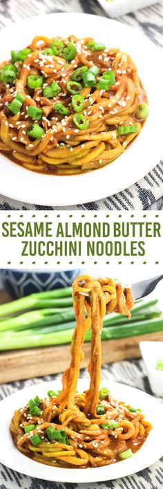 These sesame almond butter zucchini noodles make a healthy meal that takes about 20 minutes to make! The sesame almond butter sauce coats the 'zoodles' beautifully making this spiralizer recipe a hearty and satisfying dish.: