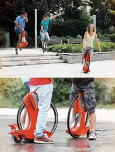 extreme sports wheel as an alternative to carrying your bi = uni cycle less space and more light weight Insolite, Version Voyages, www. Cool Technology, Technology Gadgets, Wearable Technology, Monocycle, Live Wire, Cool Inventions, Bicycle Design, Extreme Sports, Cool Gadgets