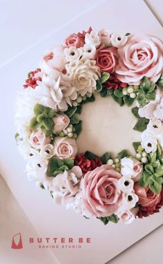 [Flower Cake - cake with butter cream flowers. Samples of work ^^ Thats a long…