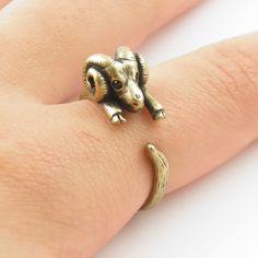 Gold Ram - Animal Wrap Ring - Aries The Ram   KejaJewelry - Jewelry on ArtFire