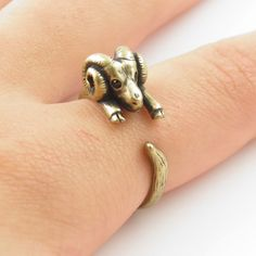 Gold Ram - Animal Wrap Ring - Aries The Ram | KejaJewelry - Jewelry on ArtFire