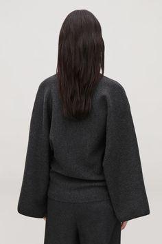 Model side image of Cos kimono wool jumper in grey Cos, Knitwear, Jumper, Kimono, High Neck Dress, Grey, Model, Sweatshirt, Image