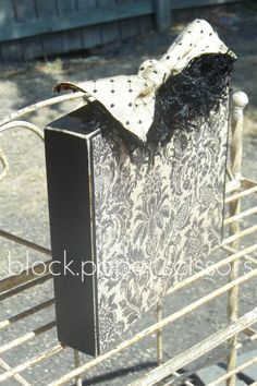 Large Damask Photo Block (there is a clip at the top that will hold your photo!)