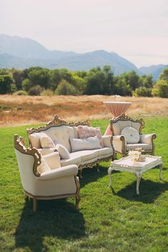 Blush vintage furnishings for the lounge space. Big Day Vintage Rentals.