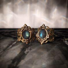 Aria Adjustable Labradorite Brass Ring Antique by TheArtisanTribe