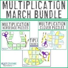 MULTIPLICATION March Math Games or St. Patrick's Day Centers BUNDLE |  3rd, 4th, 5th grade, Activities, Basic Operations, Games, Homeschool, Math, Math Centers, St. Patrick's Day
