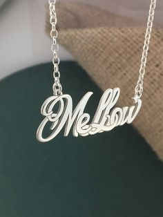 Sterling silver 925 / Custom word necklace/ Name Jewelry/ Personalized Name Necklace / Mellow necklace/ Women / Pendant / Special necklace