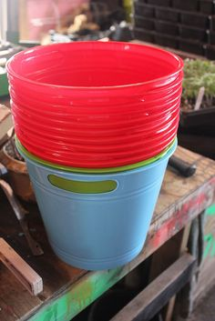 Dollar Store Container Gardening. To make cute and cheap flower pots, use these dollar tree waste baskets.  Drill a few holes in the bottom, fill with potting soil and plant.  Easy. They cost about a dollar each.