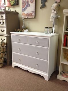 Dresser, painted with Annie Sloan Chalk Paint (Pure White body and Paris Grey drawers). Clear waxed. New knobs. Sold.                                                                                                                                                                                 More