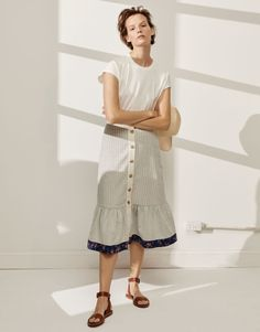 ecd2efacf6 madewell x the new denim project patchwork skirt worn with ex-boyfriend  relaxed muscle tee