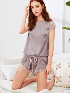 To find out about the Lace Insert Knot Top & Shorts PJ Set at SHEIN, part of our latest Night Sets ready to shop online today! Onesie Pajamas, Pyjamas, Sleepwear Women, Pajamas Women, Lingerie Outfits, Women Lingerie, Night Outfits, Fashion Outfits, Outfit Night