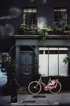inside outside - paint it out black - pink bike and plants - london street