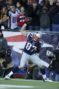 Rob Gronkowski spikes the ball after his TD