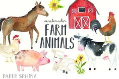 Watercolor Farm Animals Clipart Pack - Illustrations - 1