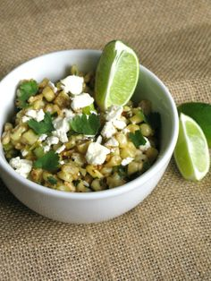 Esquites with lemon aioli Yummy citrus-y corn salad with cotija cheese. So delicious and perfect for spring/summer.