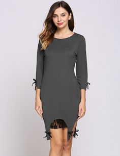 Grey 3/4 Sleeve Round Collar Asymmetrical Hem Lace Patchwork Bow Casual Dress