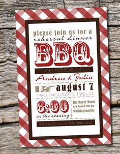 Items similar to Gingham Poster BBQ Barbeque Engagement Party / Rehearsal Dinner Party Invitation - Printable digital file or printed invitations on Etsy Dinner Party Invitations, Wedding Party Invites, Bridal Shower Invitations, 50th Party, Invitation Ideas, Wedding Rehearsal, Rehearsal Dinners, Vintage Party, Vintage Tea
