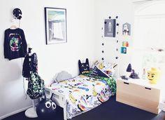 Boys room, munster bedding, backpacks, apparel.