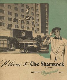20 page black and white brochure highlighting the accommodations, restaurants, and amenities for the Shamrock Hotel. Hospitality Industry Archives, Conrad N. Hilton College of Hotel & Restaurant Management, University of Houston (Public Domain). Shamrock Hotel, Houston Hotels, Space City, University Of Houston, Texas Bluebonnets, Architecture Tattoo, Texas Travel, Celebration Quotes, Corpus Christi