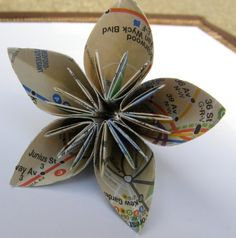 Items similar to 12 NYC Subway Map Kusudama Origami Flowers on Etsy Origami Butterfly, 3d Origami, Origami Flowers, Paper Flowers, Paper Crane Mobile, Nyc Subway Map, New York City Map, Fundraising, Party Favors