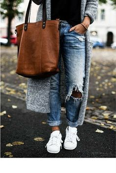 sneakers and pearls, street style, ripped denim, long cardigan worn with sneakers, trending now.jpg