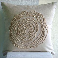 Earthy Rose - Throw Pillow Covers - 18x18 Inches Linen Pillow Cover with Jute Embroidery
