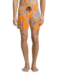 Moorea Starlets Starfish-Print Swim Trunks, Orange - Vilebrequin