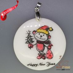 ENGRAVED HAND PAINTED MONKEY SANTA PENDANT NATURAL WHITE STONE ZL7001725 #ZL…